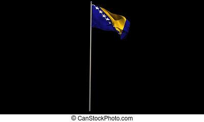 Bosnian national flag waving on flagpole on black background