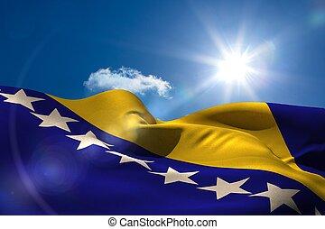 bosnio, bandera nacional, debajo, soleado, cielo