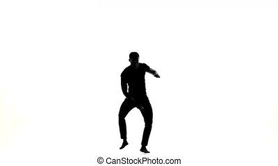 boso, taniec, taniec, amerykanka, tancerz, latina, biały, sylwetka, człowiek, afro, szczęśliwy