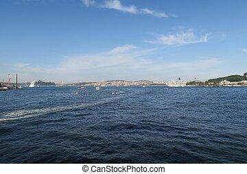 bosphore, détroit, et, pont, dans, istanbul, turquie