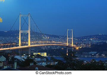 Bosphorus Bridge at night in Istanbul,Turkey