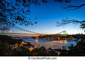 Bosphorus Bridge at night Istanbul / Turkey