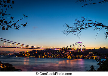 Bosphorus Bridge at night Istanbul / Turkey