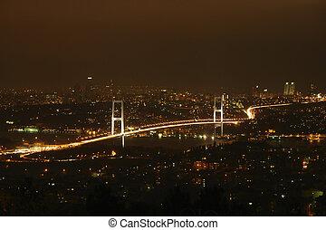 Bosphorus Bridge at night. View from hill