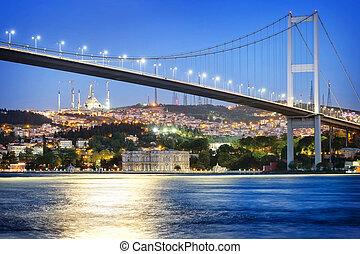Bosphorus Bridge at night with moon path