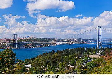 Bosphorus bridge in Istanbul Turkey - connecting Asia and...