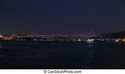 light show - Bosphorus Bridge light show at the istanbul...