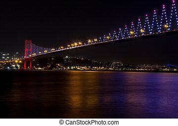 bosphorus, bro, från, istanbul, turkiet