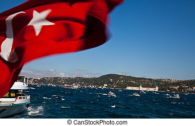 bosphorus - fishing fleet with turkish flag