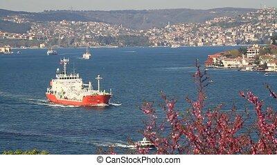Bosphorus in Springtime - Tanker ship cruising along coast...