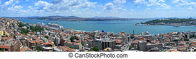 Bosphorus panoramic view from Galata tower, Istanbul, Turkey