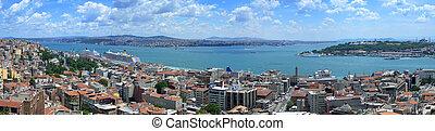 Bosphorus panoramic view from Galata tower, Istanbul, Turkey