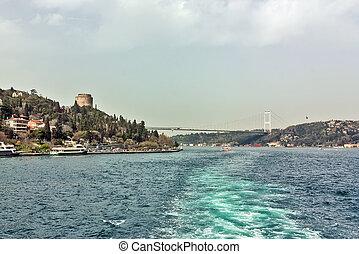 Bosphorus Strait, Turkey - Water trace behind the ship on...