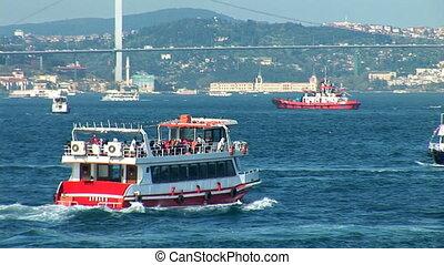 Bosphorus trafic b - passenger ships sailing on the...
