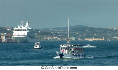 Bosphorus trafic c - passenger ships sailing on the...
