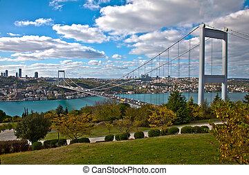Bosphorus with Bridge - Bosphorus with Traffic on the Bridge...