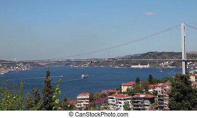 bosphorus with sea traffic 1 - time lapse bosphorus with sea...