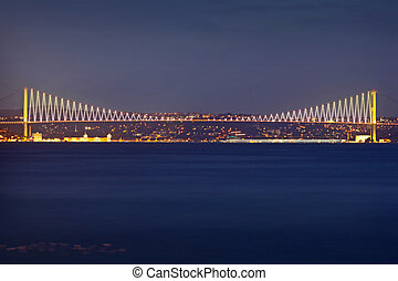 Bosporus Bridge at night Istanbul / Turkey
