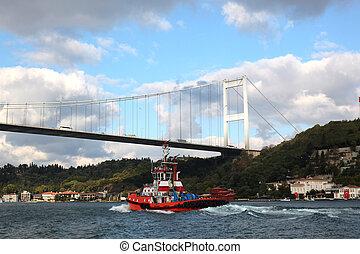 Bosporus Bridge Istanbul - view at the Bosporus Bridge in...