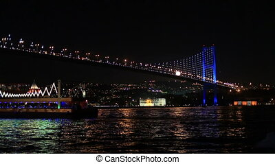 Bosporus Bridge - tourist ship leave a port on the Bosporus