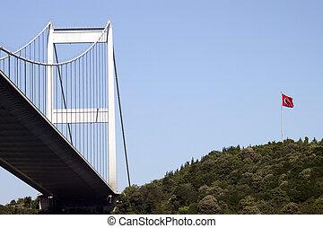 Bosporus bridge with Turkish flag