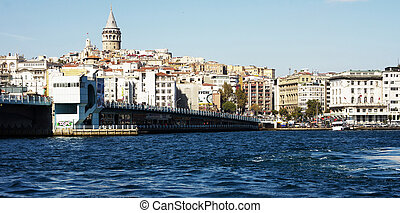 Bosporus, Istanbul - Beyoglu district historic architecture...
