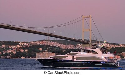 Bosporus, Istanbul - Luxury yacht sails under Bosporus...