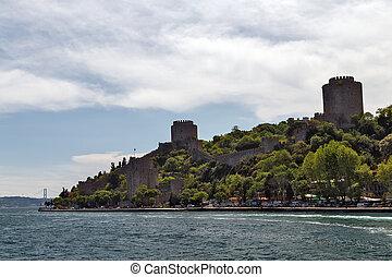 Bosporus Sea view of citadel, fortress Castle Rumelian, Outdoor Istanbul city. Turkey landmark