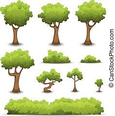 bosque, árboles, setos, y, arbusto, conjunto