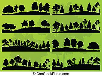 bosque, árboles, siluetas, paisaje, plano de fondo, vector