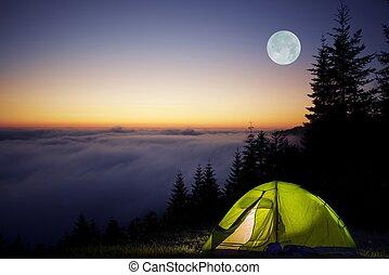 bosque, acampar tienda
