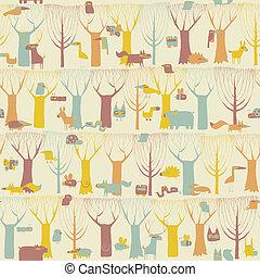 bosque, animales, seamless, patrón