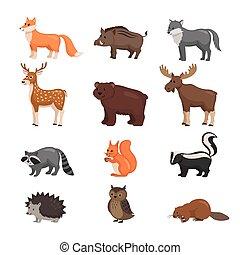 bosque, animales, set.