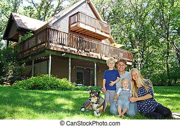 bosque, cabaña, familia , feliz