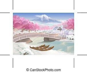 bosque, cor-de-rosa, paisagem
