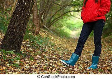 bosque de otoño, caminata