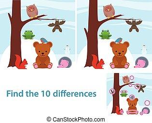 bosque, educacional, crianças, animais, quebra-cabeça