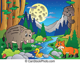 bosque, escena, con, vario, animales, 4