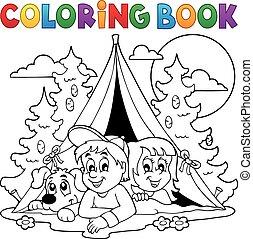 bosque, libro colorear, campamento, niños