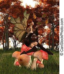 bosque, outono, toadstool, fada, frondoso, asas
