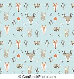bosque, padrão, seamless, animais, cute
