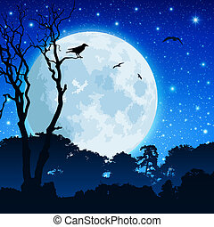 bosque, paisaje, con, luna