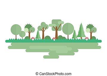 bosque, paisaje, en, un, plano, estilo, aislado, blanco, fondo., conjunto, de, árboles, para, su, diseño, project., vector, ilustración, eps10.