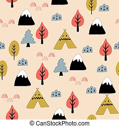 bosque, pattern., seamless, escandinavo