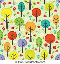 bosque, plano de fondo, seamless