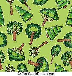 bosque, -, seamless, vector, patten