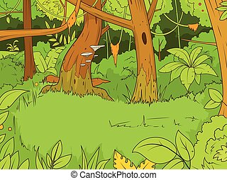 bosque, vector, caricatura, ilustración, selva