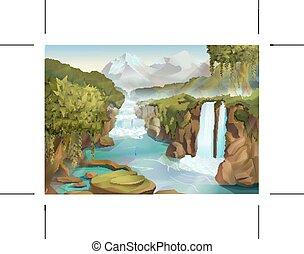 bosque, y, cascada, paisaje