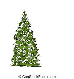 bosquejo, árbol, aislado, pino, diseño, blanco, su