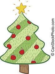 bosquejo, árbol, navidad